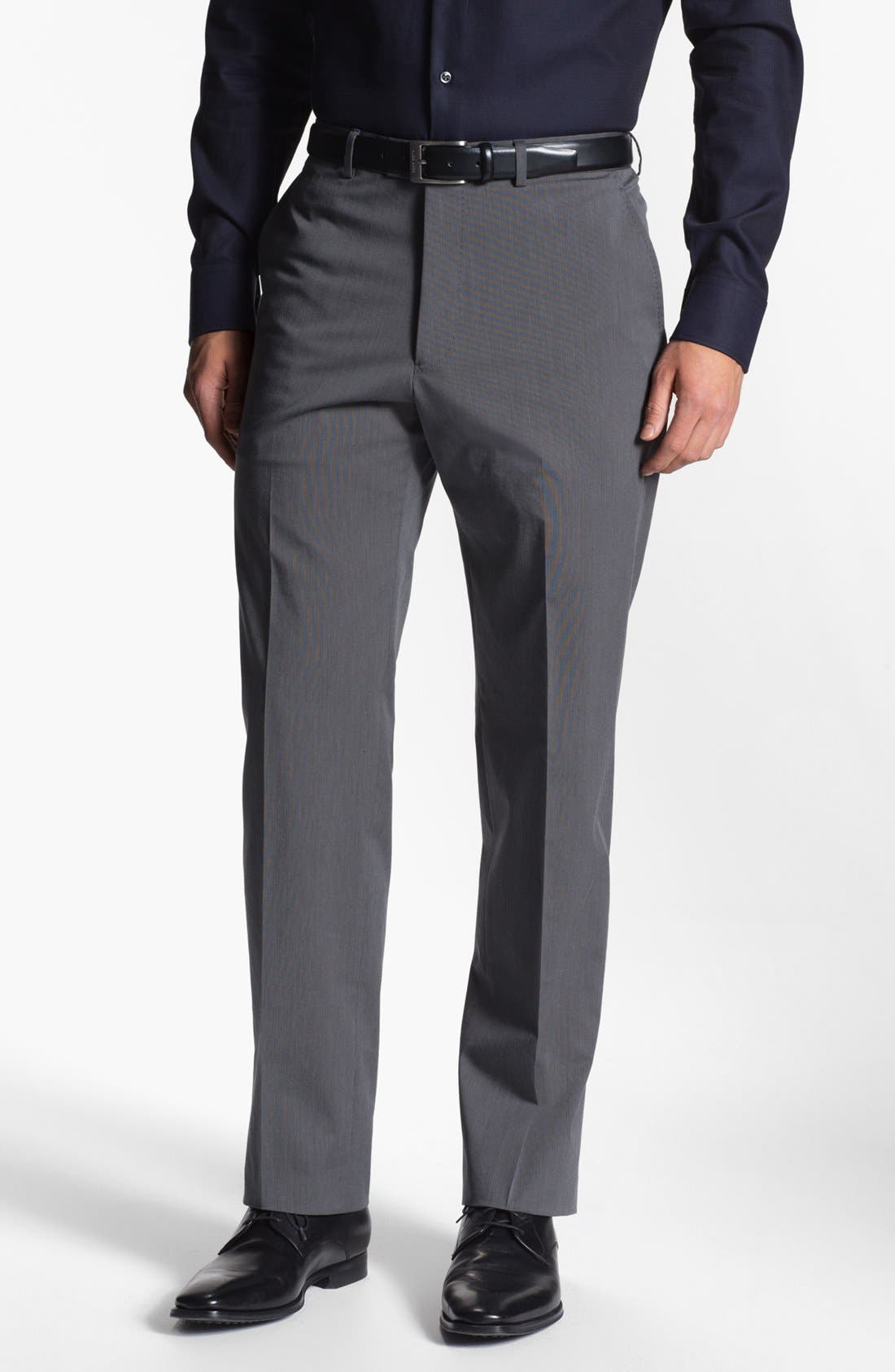 Main Image - Armani Collezioni Stretch Flat Front Trousers