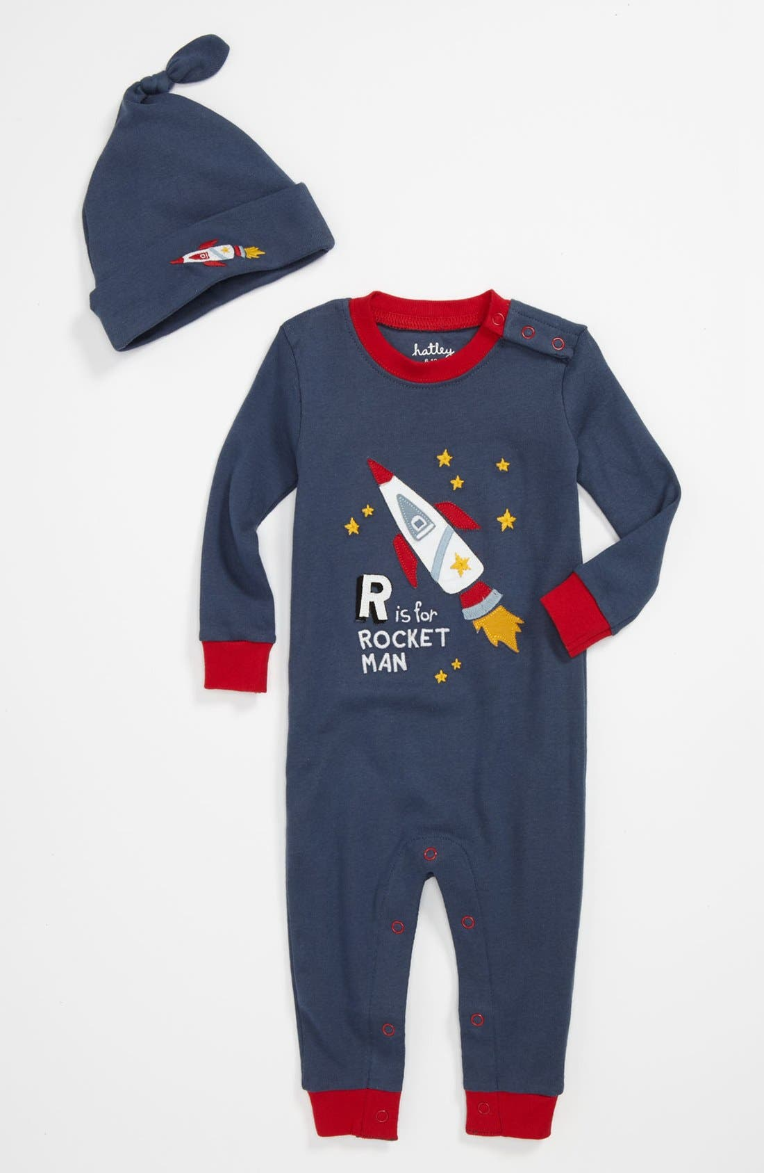 Main Image - Hatley Fitted Romper & Hat Pajamas (Baby)
