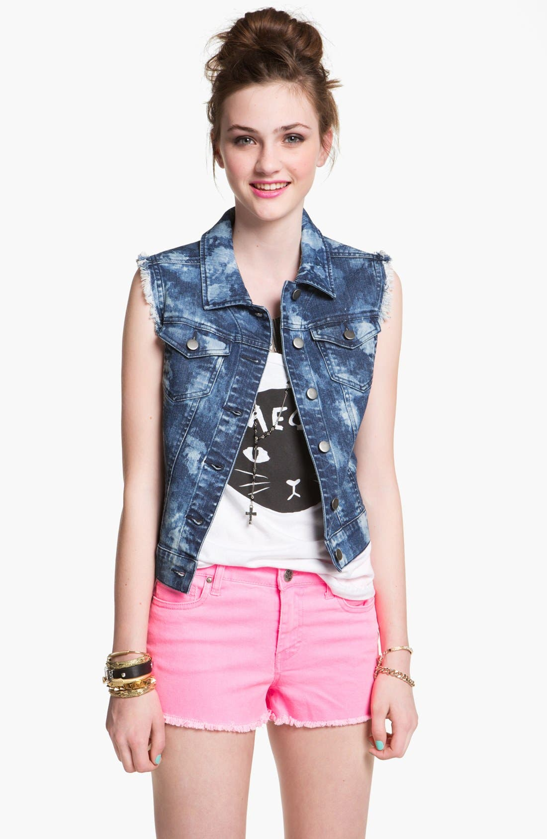 Alternate Image 1 Selected - Rubbish Bleach Splashed Denim Vest (Juniors)