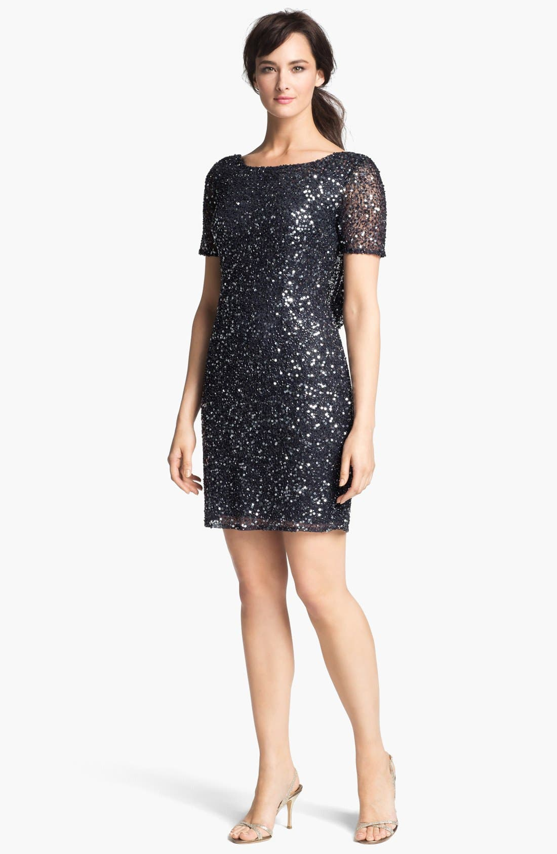 Main Image - Pisarro Nights Draped Back Sequin & Bead Dress