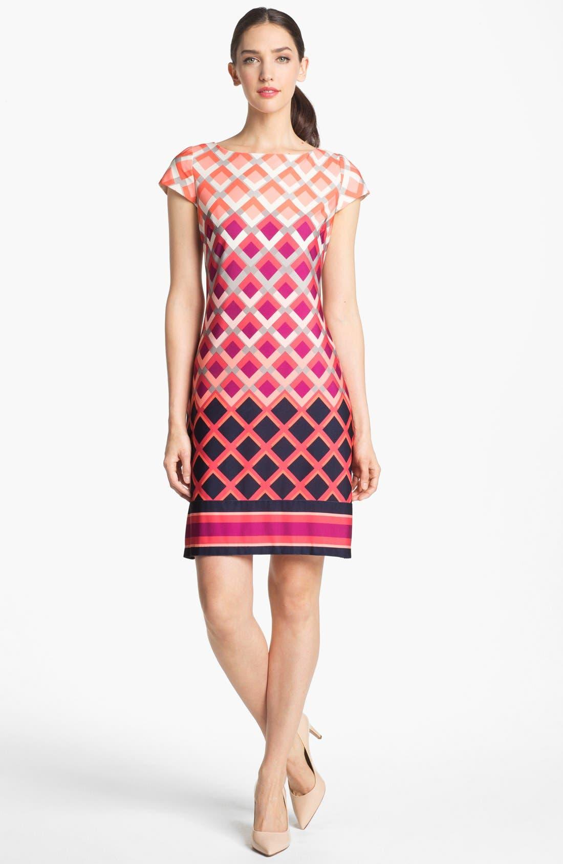 Main Image - Eliza J Print Cap Sleeve Jersey Shift Dress
