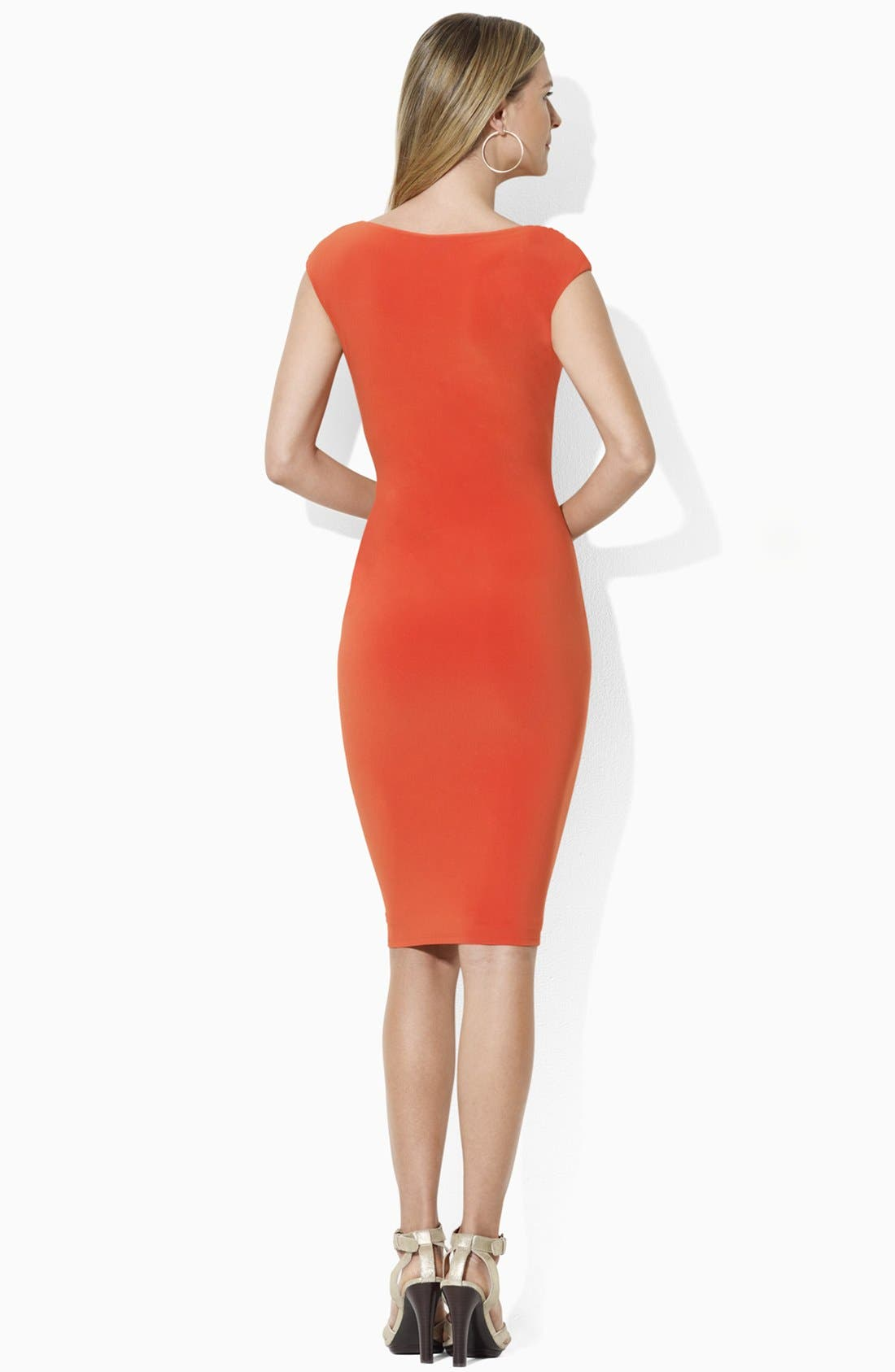 Alternate Image 2  - Lauren Ralph Lauren Cap Sleeve Jersey Sheath Dress (Petite)