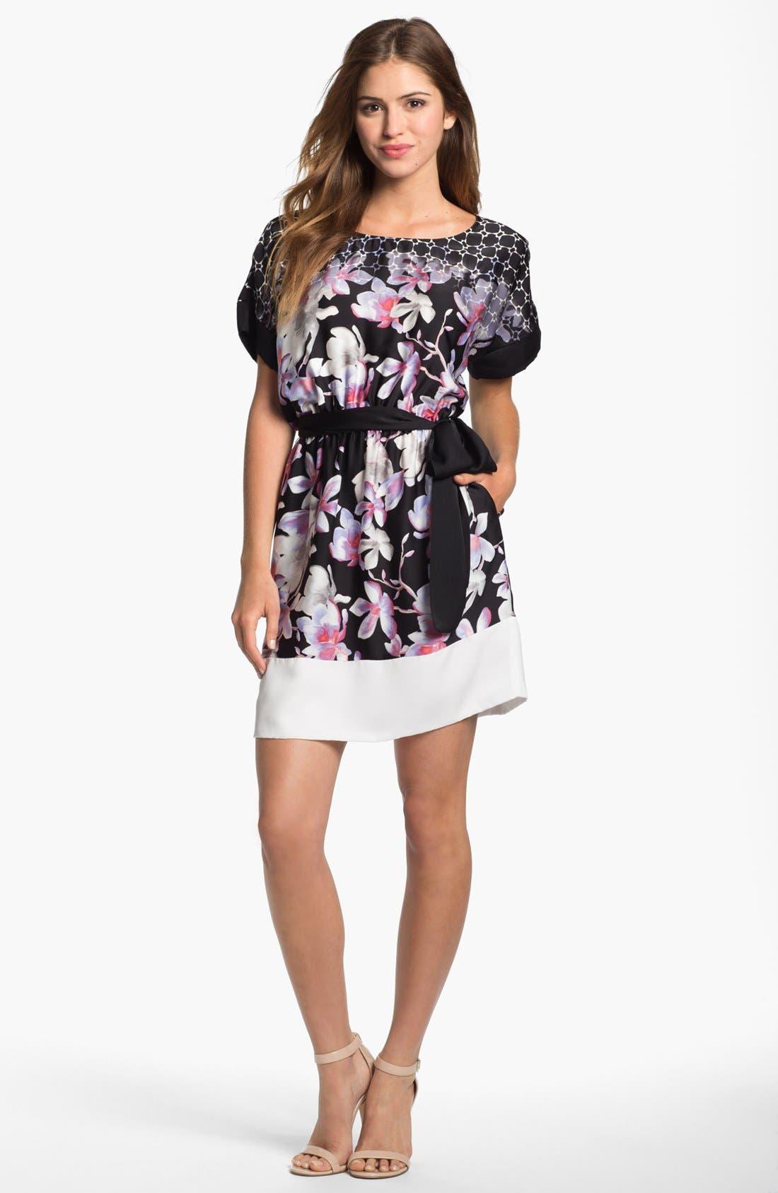Alternate Image 1 Selected - DKNYC Contrast Cuff Print Dress