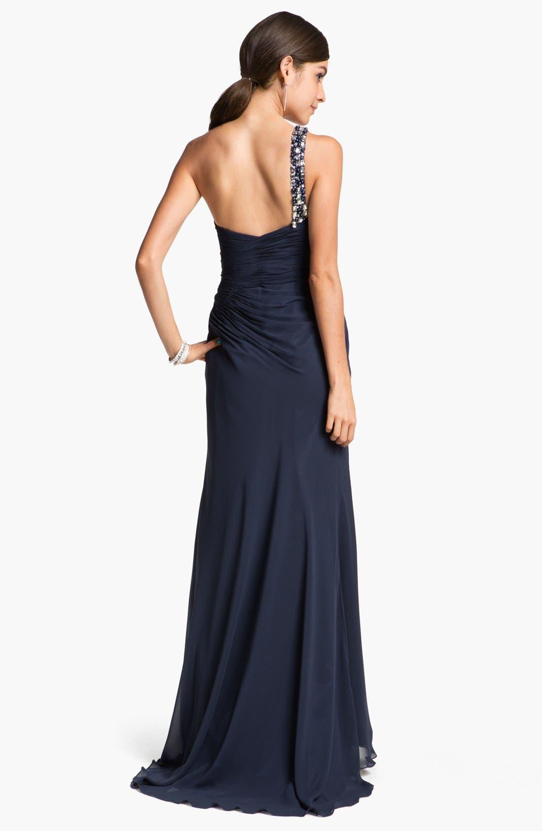 Alternate Image 2  - Faviana Embellished One Shoulder Chiffon Gown & Shawl
