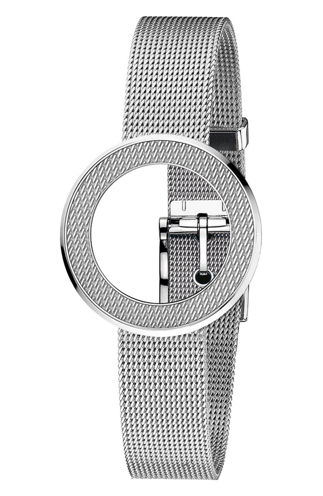 Alternate Image 1 Selected - Gucci 'U-Play' Mesh Bezel & Watch Bracelet, 27mm