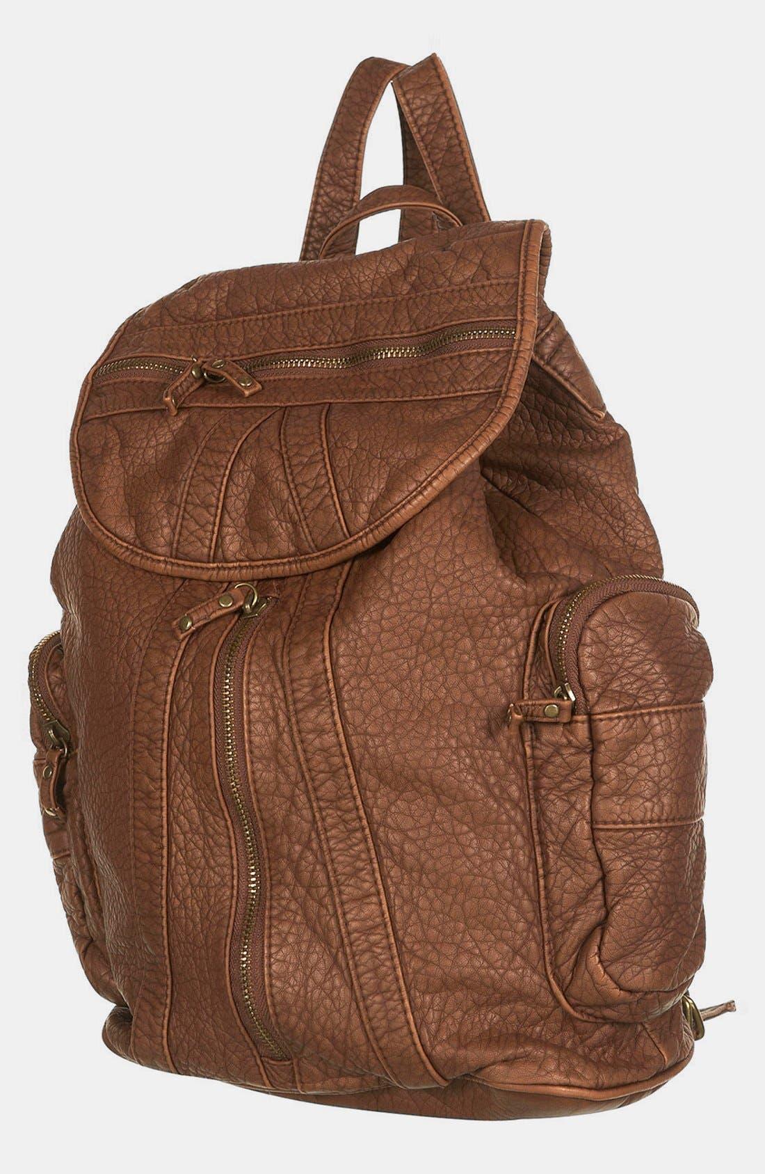 Alternate Image 2  - Topshop Multi Zip Faux Leather Backpack