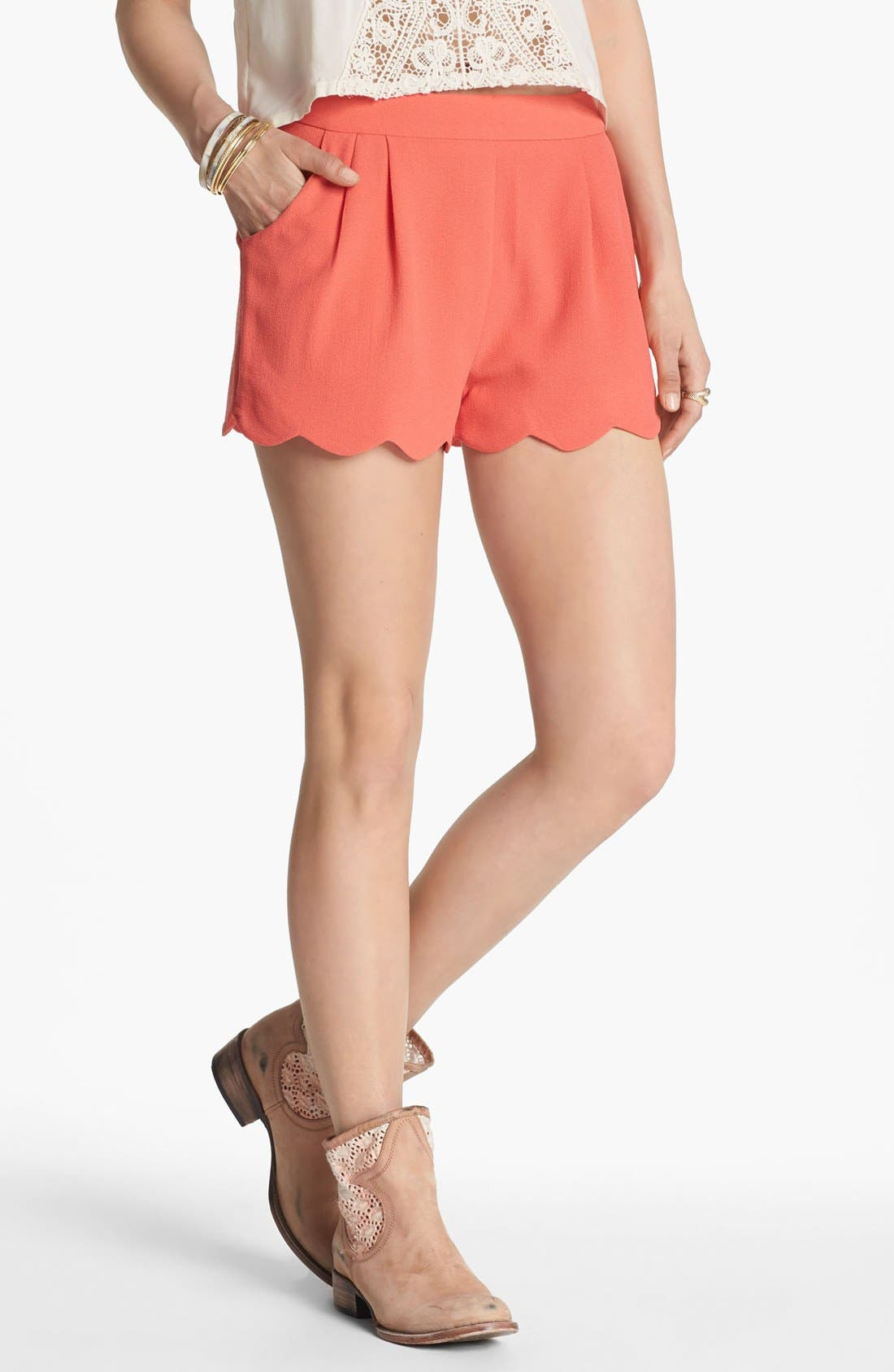 Alternate Image 1 Selected - Lush Scalloped Lace Shorts (Juniors) (Online Only)