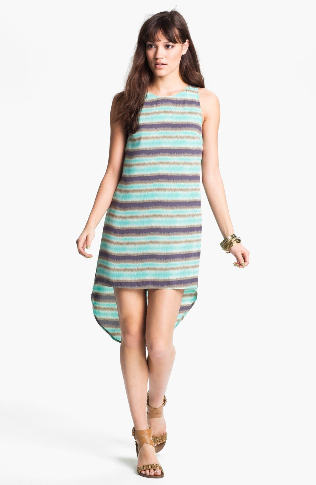 Main Image - Lush Print High/Low Shift Dress (Juniors)