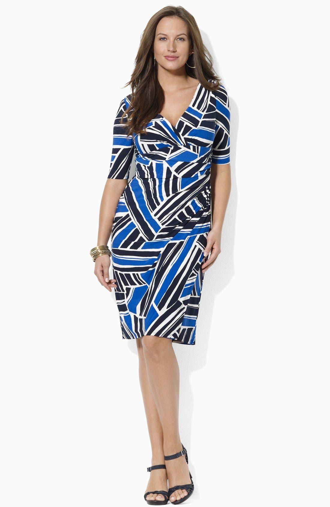 Print Jersey Sheath Dress,                         Main,                         color, Capri Blue/ Black