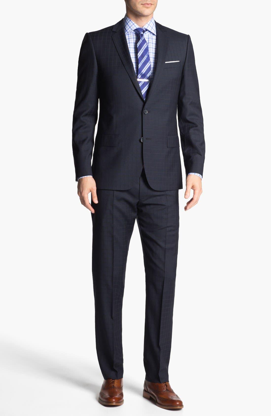 Alternate Image 1 Selected - HUGO 'Amaro/Heise' Trim Fit Check Suit