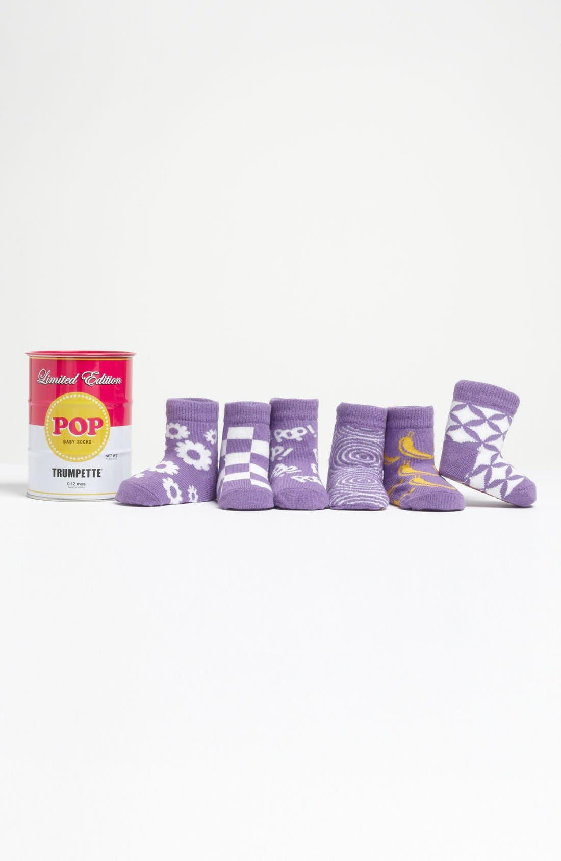 Alternate Image 1 Selected - Trumpette 'Pop Socks in a Tin Can' Sock Set (6-Pack)(Baby Girls)