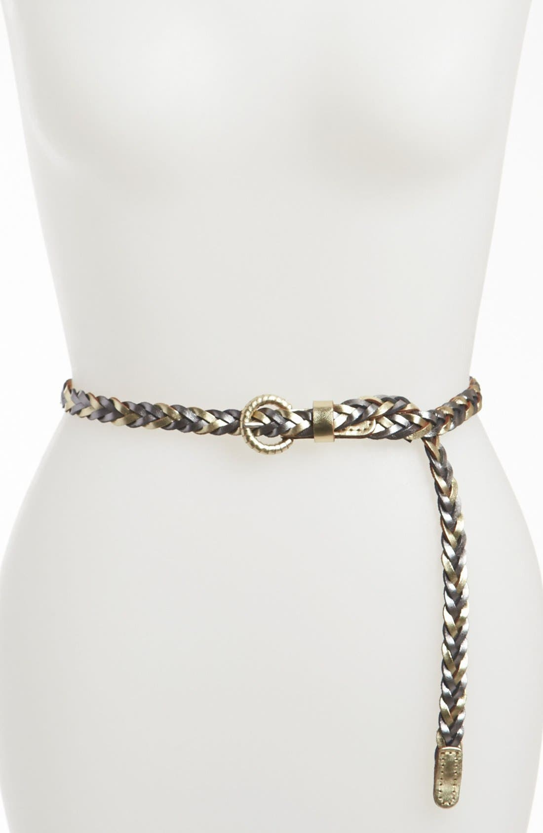 Alternate Image 1 Selected - Tarnish Bicolor Braided Leather Belt