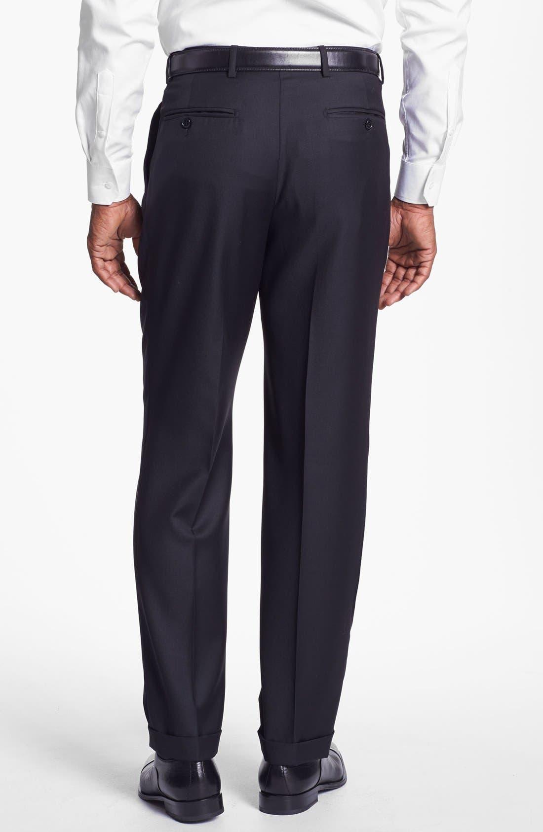 Alternate Image 2  - Santorelli 'Luxury Serge' Double Pleated Wool Trousers