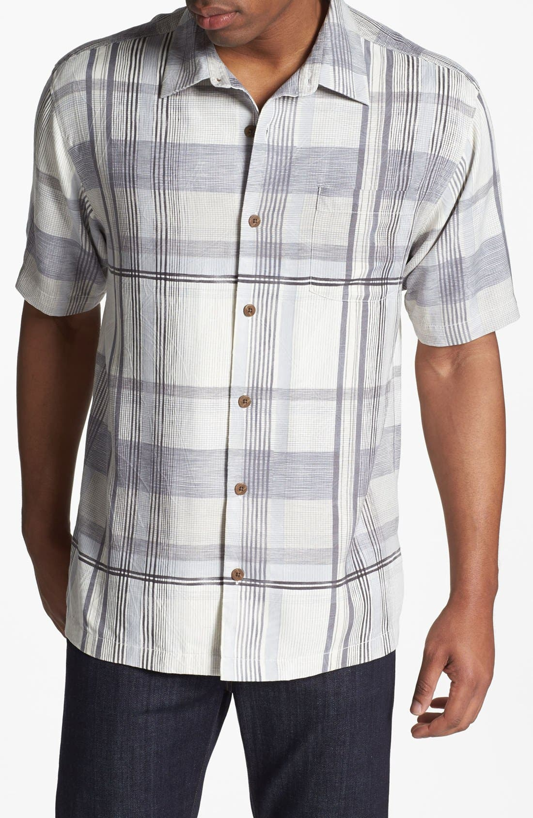 Main Image - Tommy Bahama 'Plaid Vallarta' Silk Campshirt