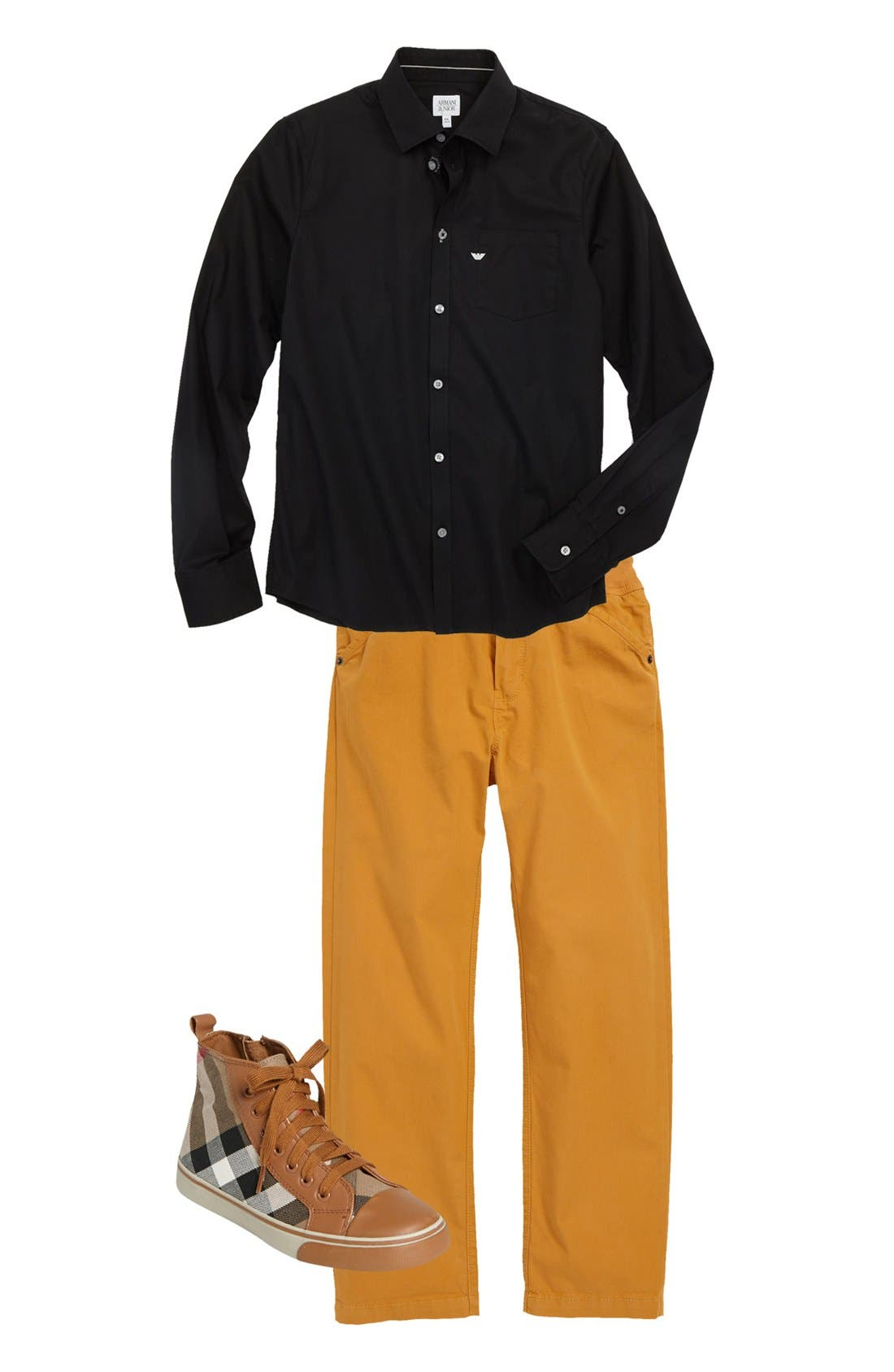 Alternate Image 1 Selected - Armani Junior Shirt, LITTLE MARC JACOBS Pants & Burberry Sneaker (Big Boys)