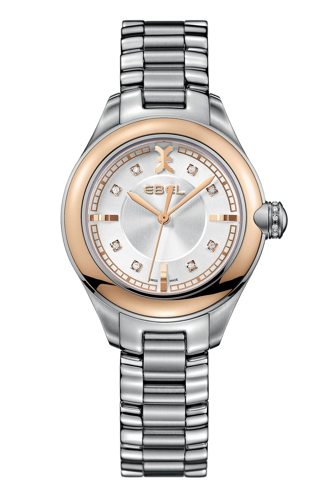 Alternate Image 1 Selected - EBEL 'Onde' Diamond Index Bracelet Watch, 30mm