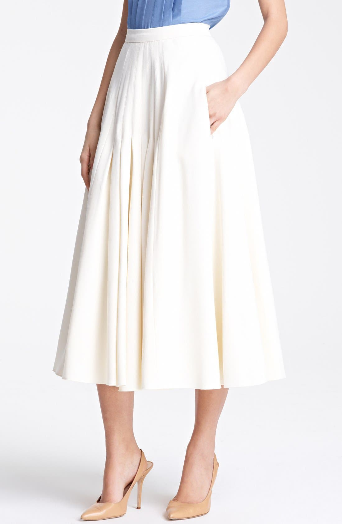 Main Image - Oscar de la Renta Pleated Jacquard Skirt