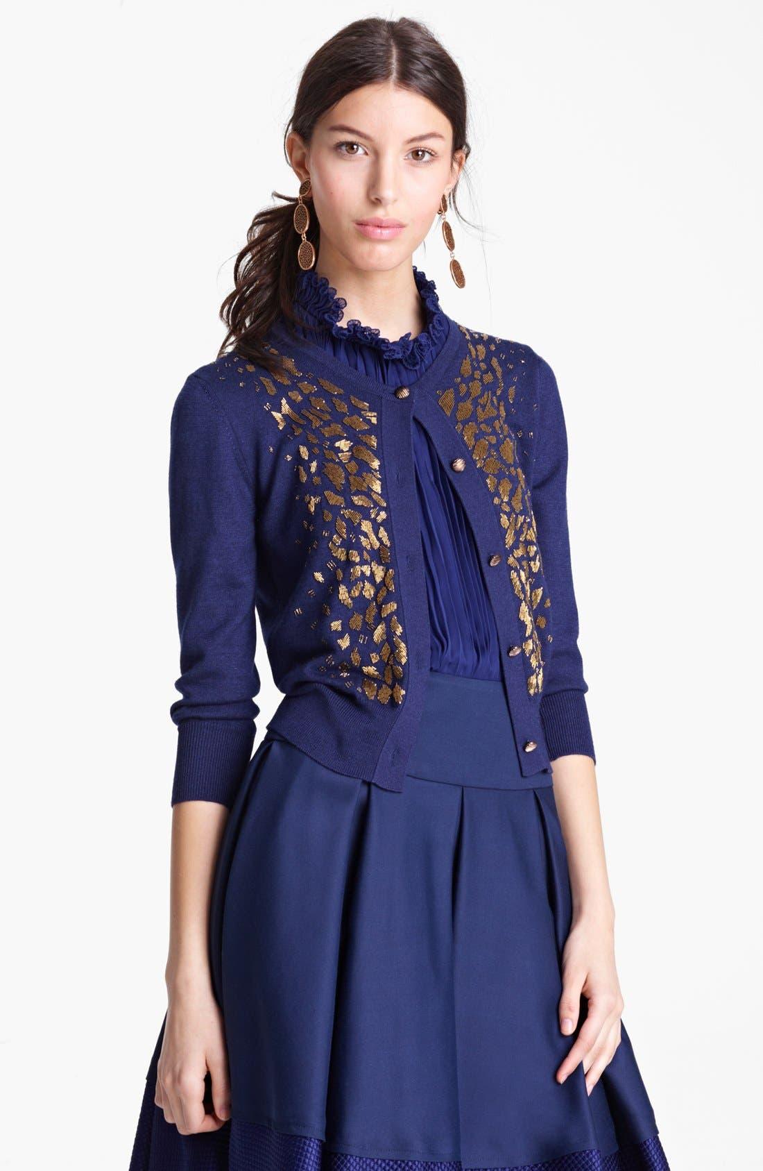 Main Image - Oscar de la Renta Embroidered Cashmere & Silk Cardigan
