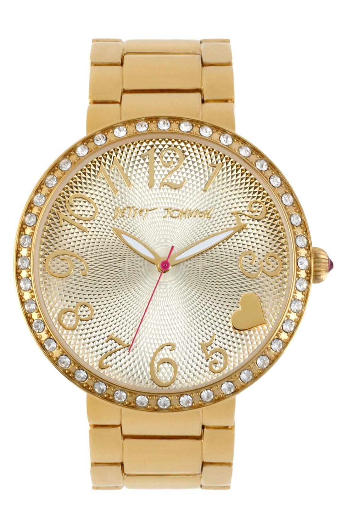 Main Image - Betsey Johnson Textured Dial Bracelet Watch, 43mm