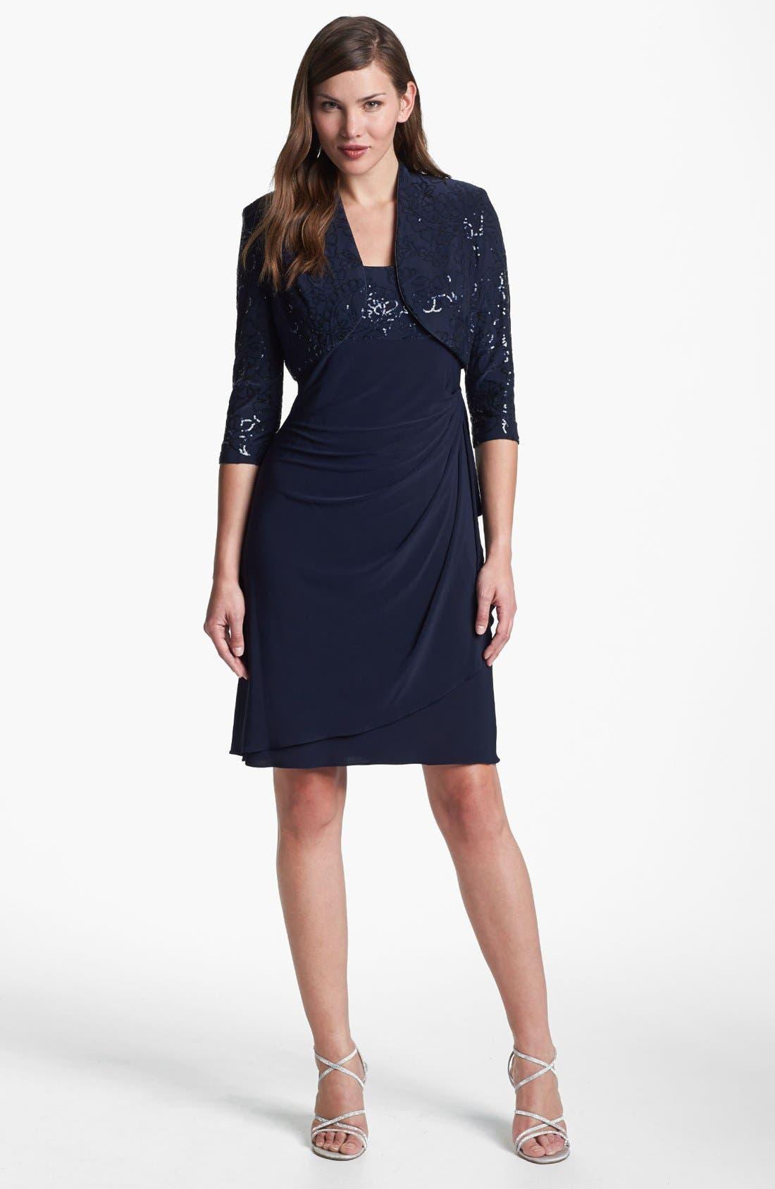 Alternate Image 1 Selected - Alex Evenings Sequin Trim Dress & Bolero (Petite)