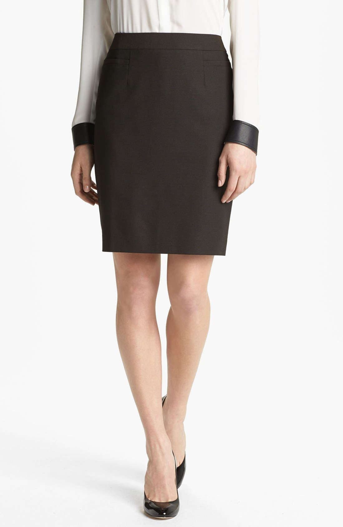 Pencil Skirt,                             Main thumbnail 1, color,                             Black/ Brown Combo