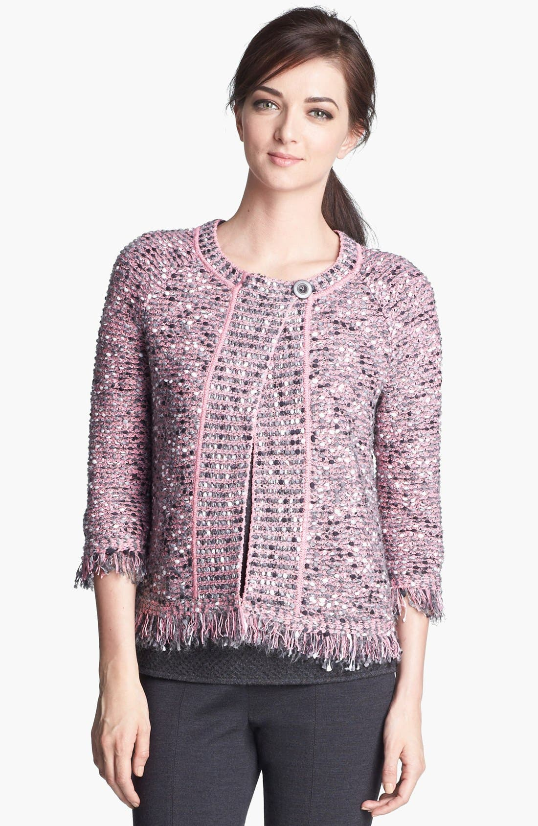 Alternate Image 2  - St. John Collection Abstract Nubby Knit Fringe Jacket