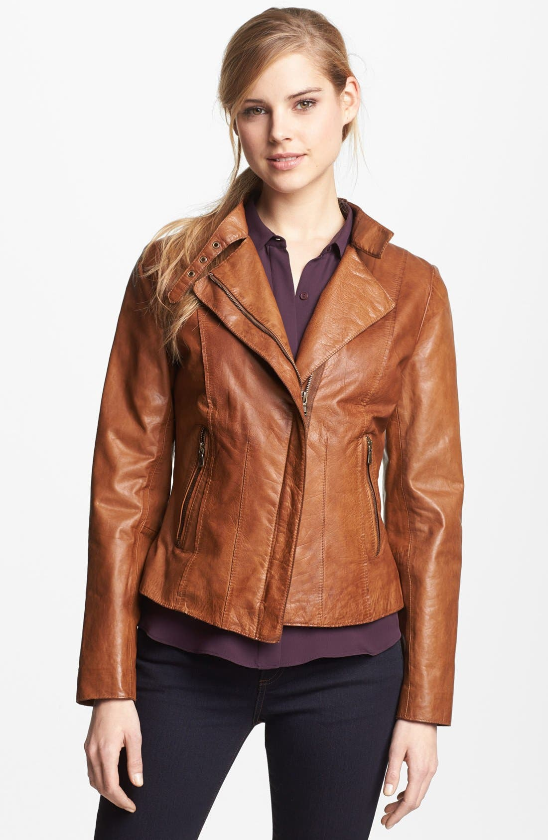 Main Image - Marc New York by Andrew Marc Distressed Leather Jacket (Regular & Petite)
