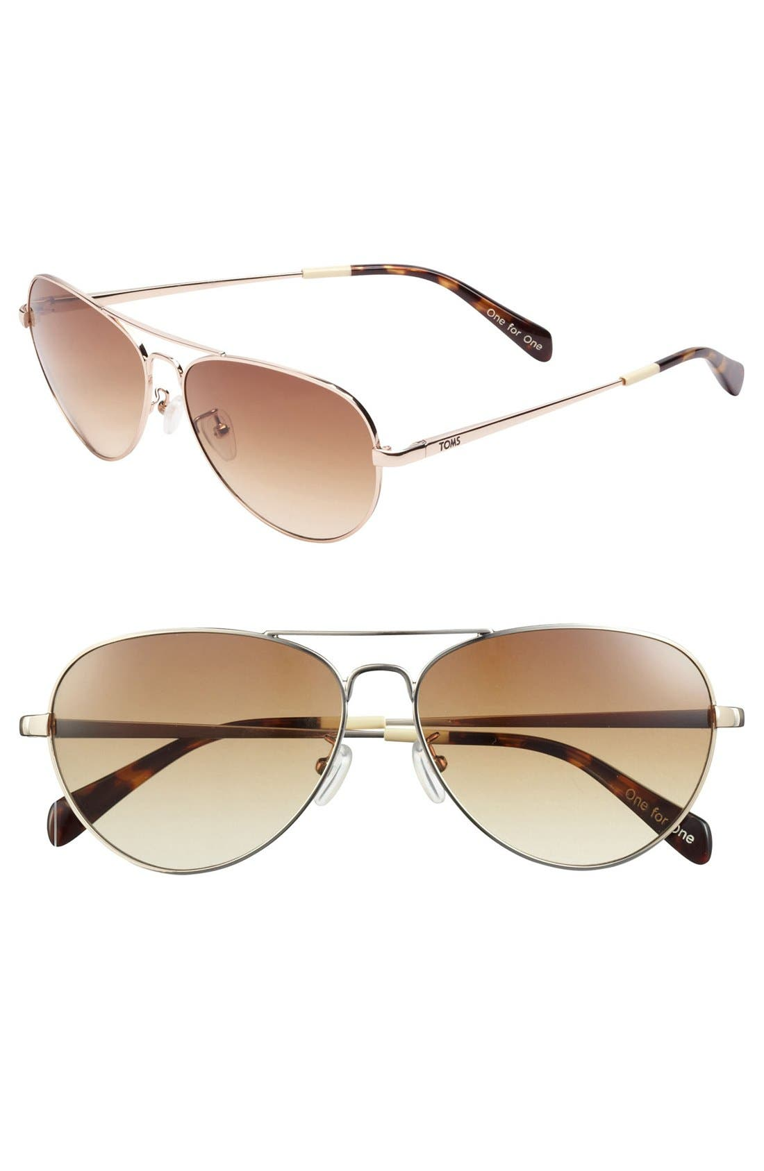 Alternate Image 1 Selected - TOMS 'Maverick' 60mm Aviator Sunglasses