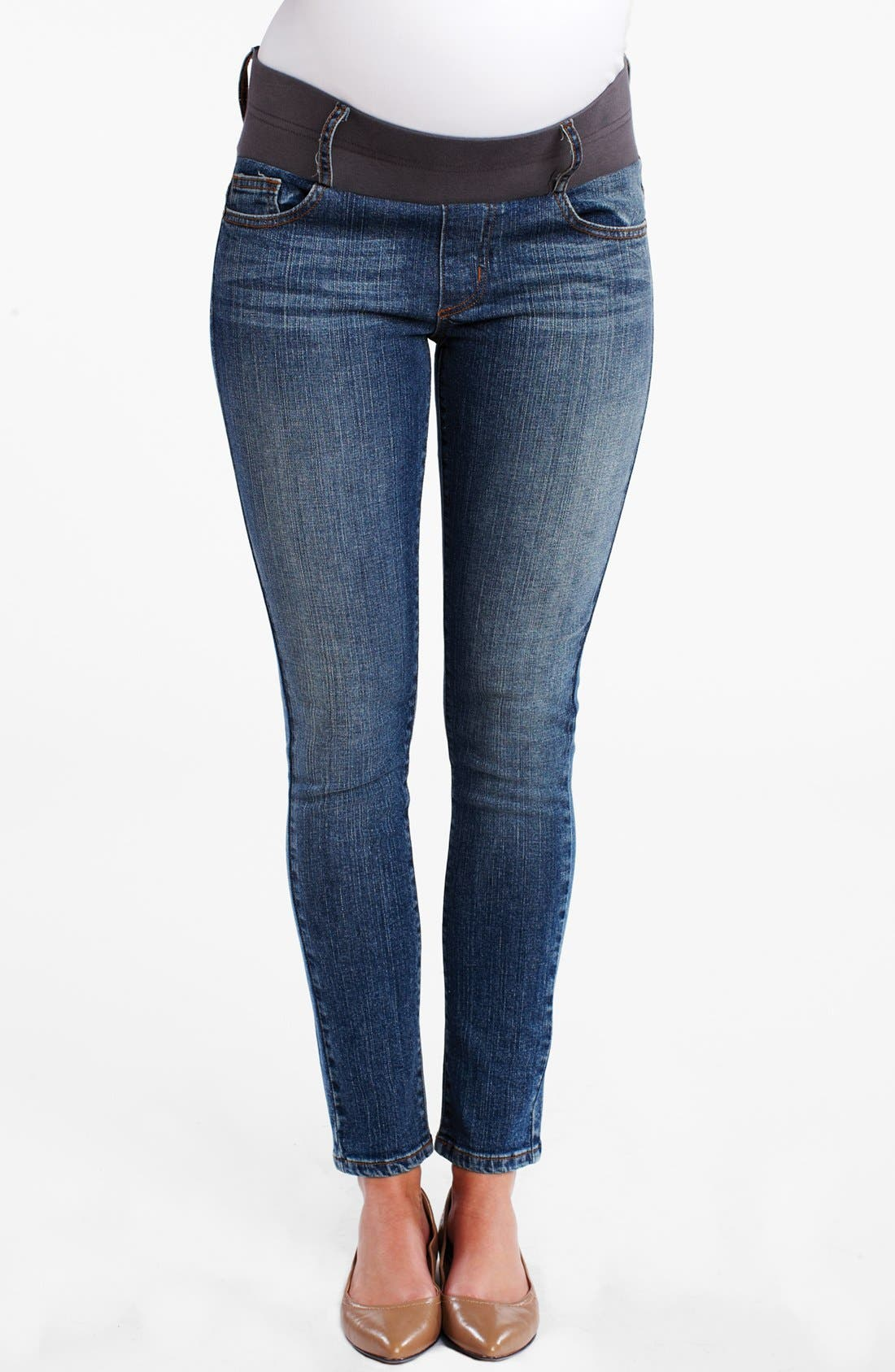 Maternity Ankle Skinny Jeans,                         Main,                         color, Dark Wash