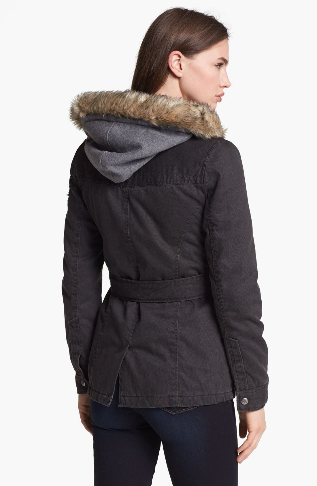 Alternate Image 2  - Buffalo by David Bitton Faux Fur Trim Hooded Inset Jacket (Online Only)