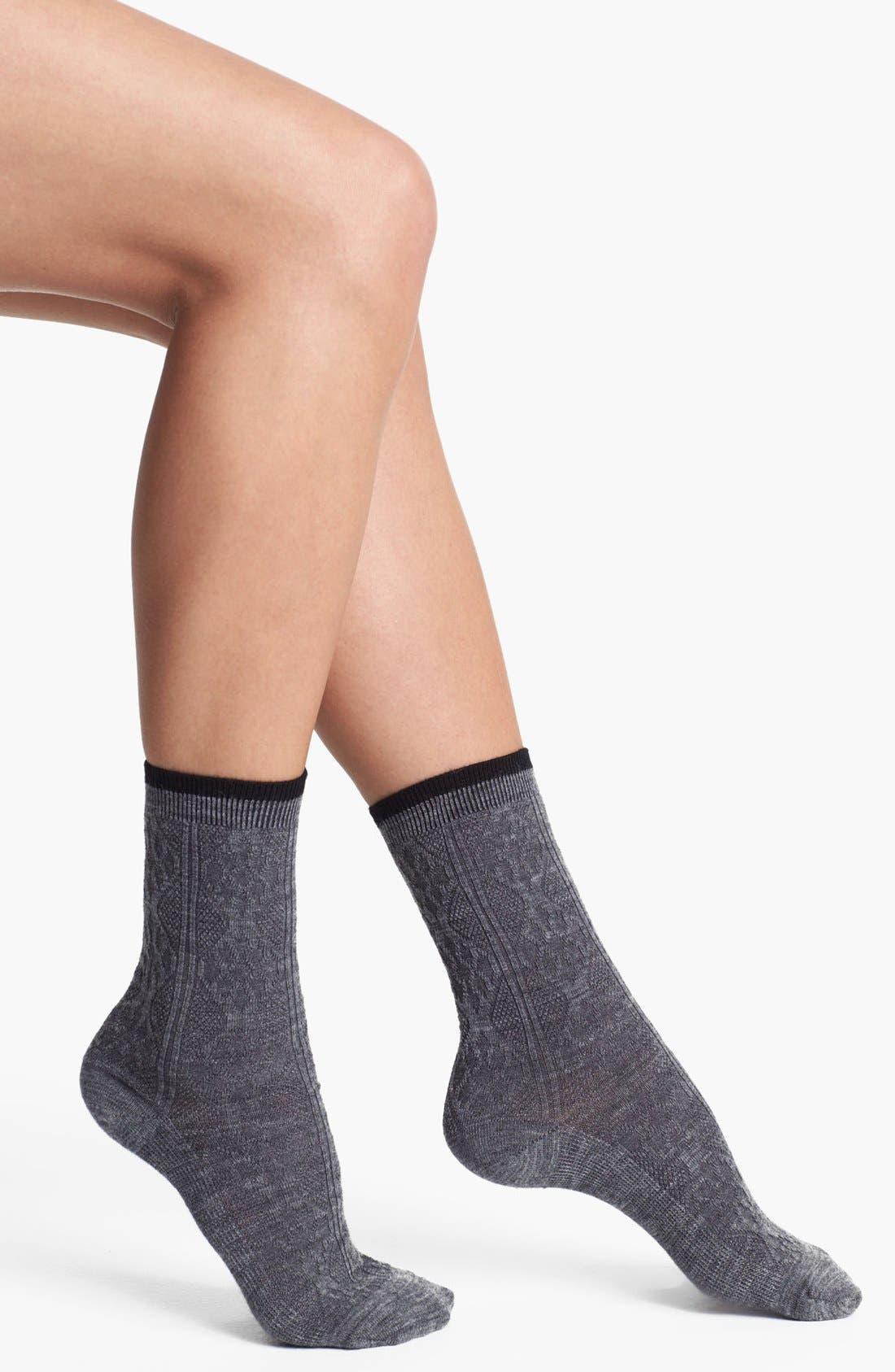 'Trellis' Crew Socks,                         Main,                         color, Medium Grey Heather/ Black