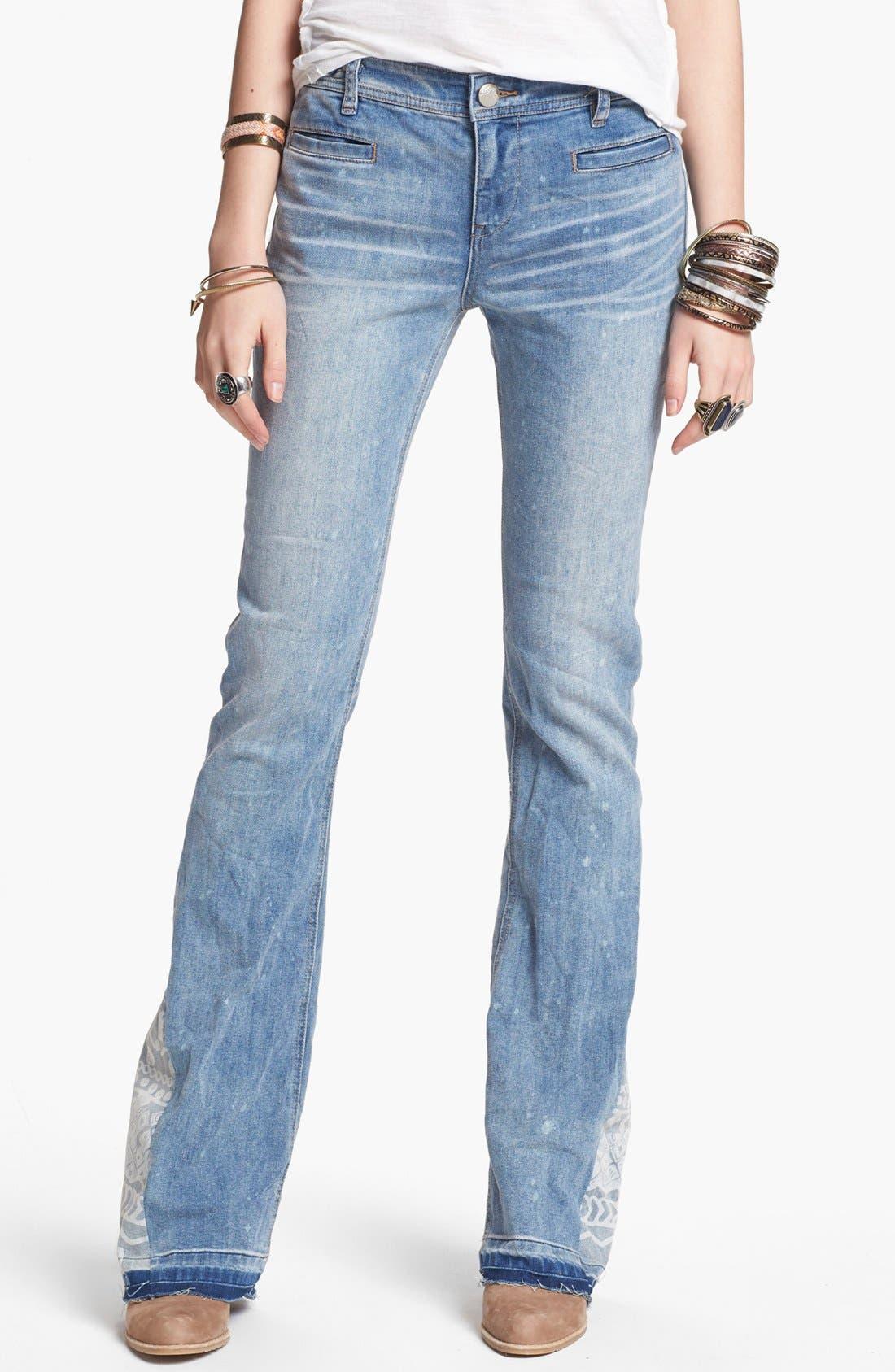 Main Image - Free People 'Mermaid' Flare Leg Jeans (Palms Wash)