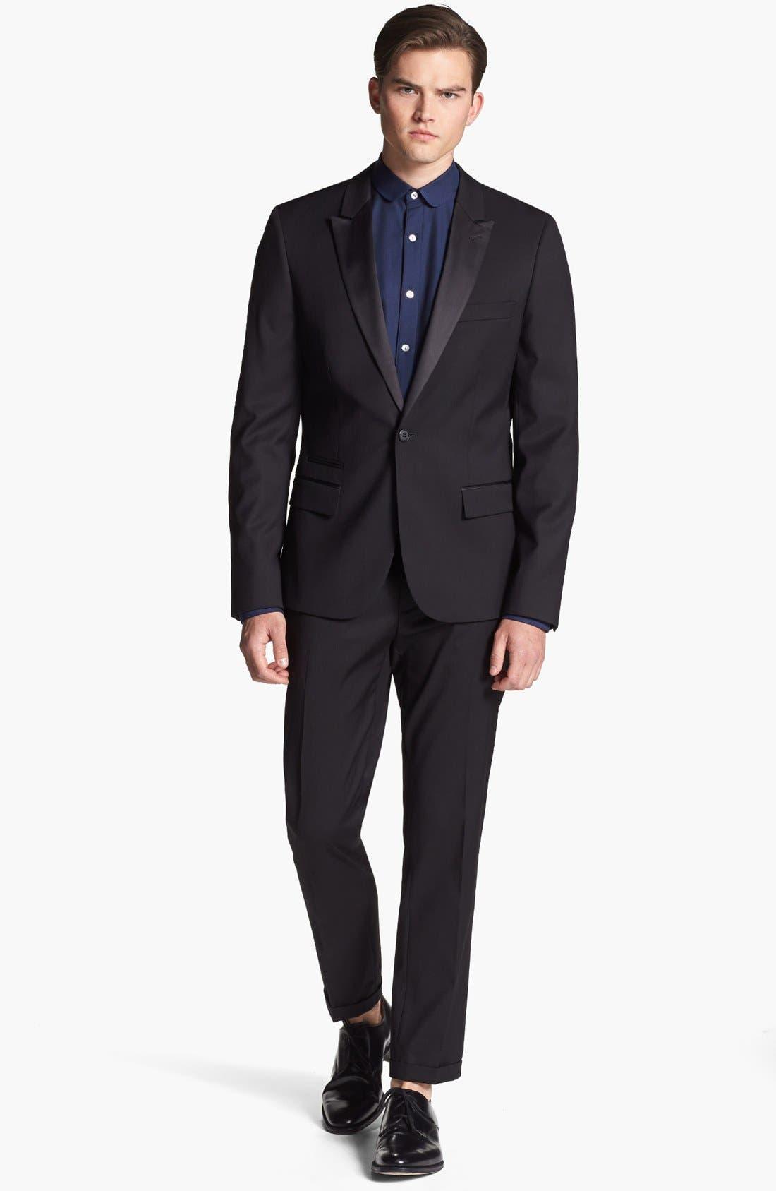 Alternate Image 4  - Topman Skinny Fit Tuxedo Trousers