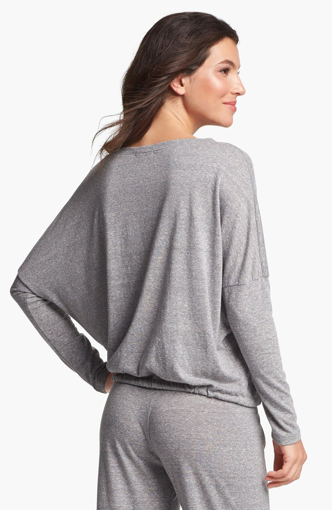 Heather Knit Slouchy Tee,                             Alternate thumbnail 2, color,                             Grey Heather