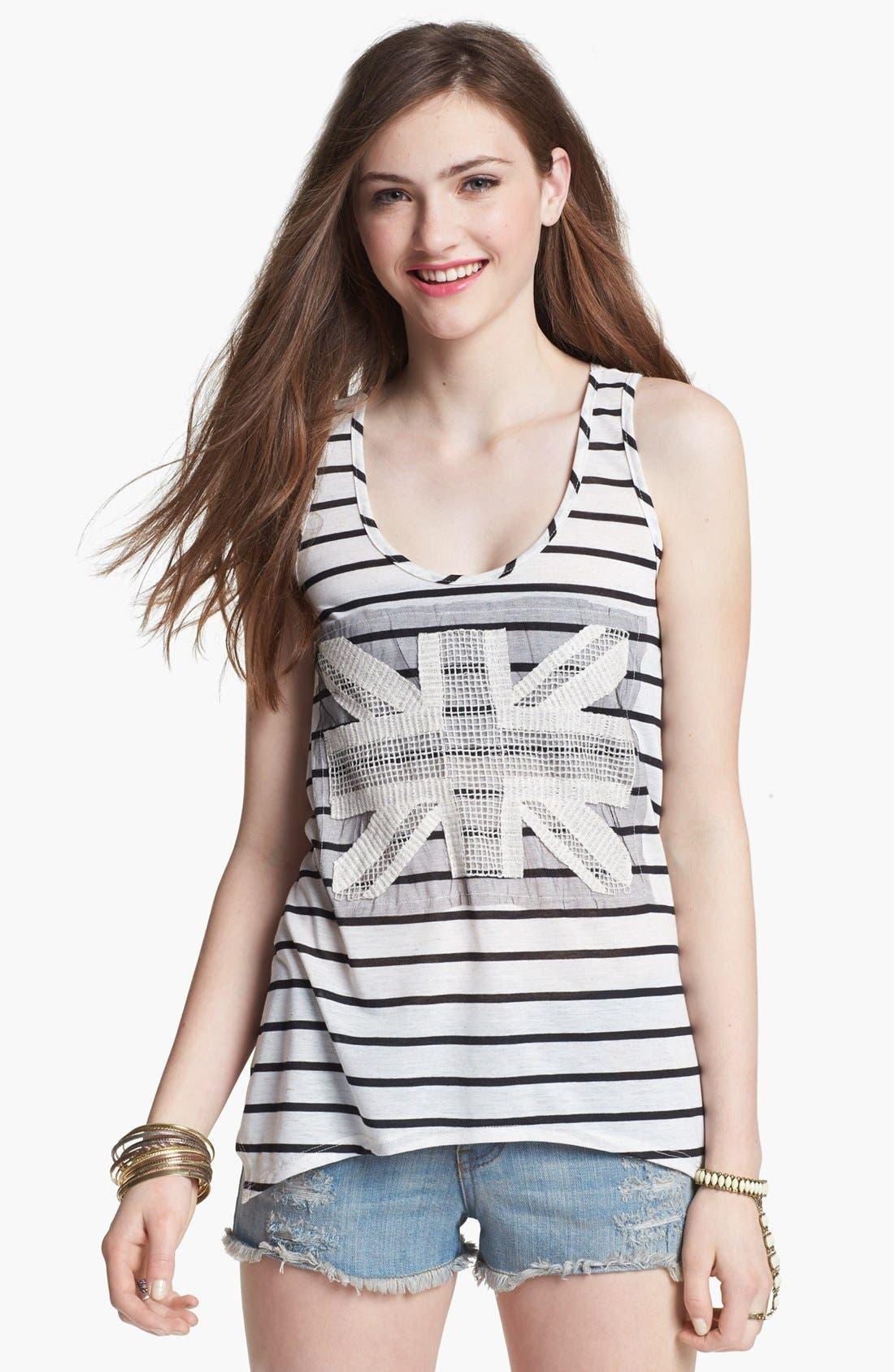 Alternate Image 1 Selected - Mary Jane Appliqué Stripe Tank (Juniors) (Online Only)