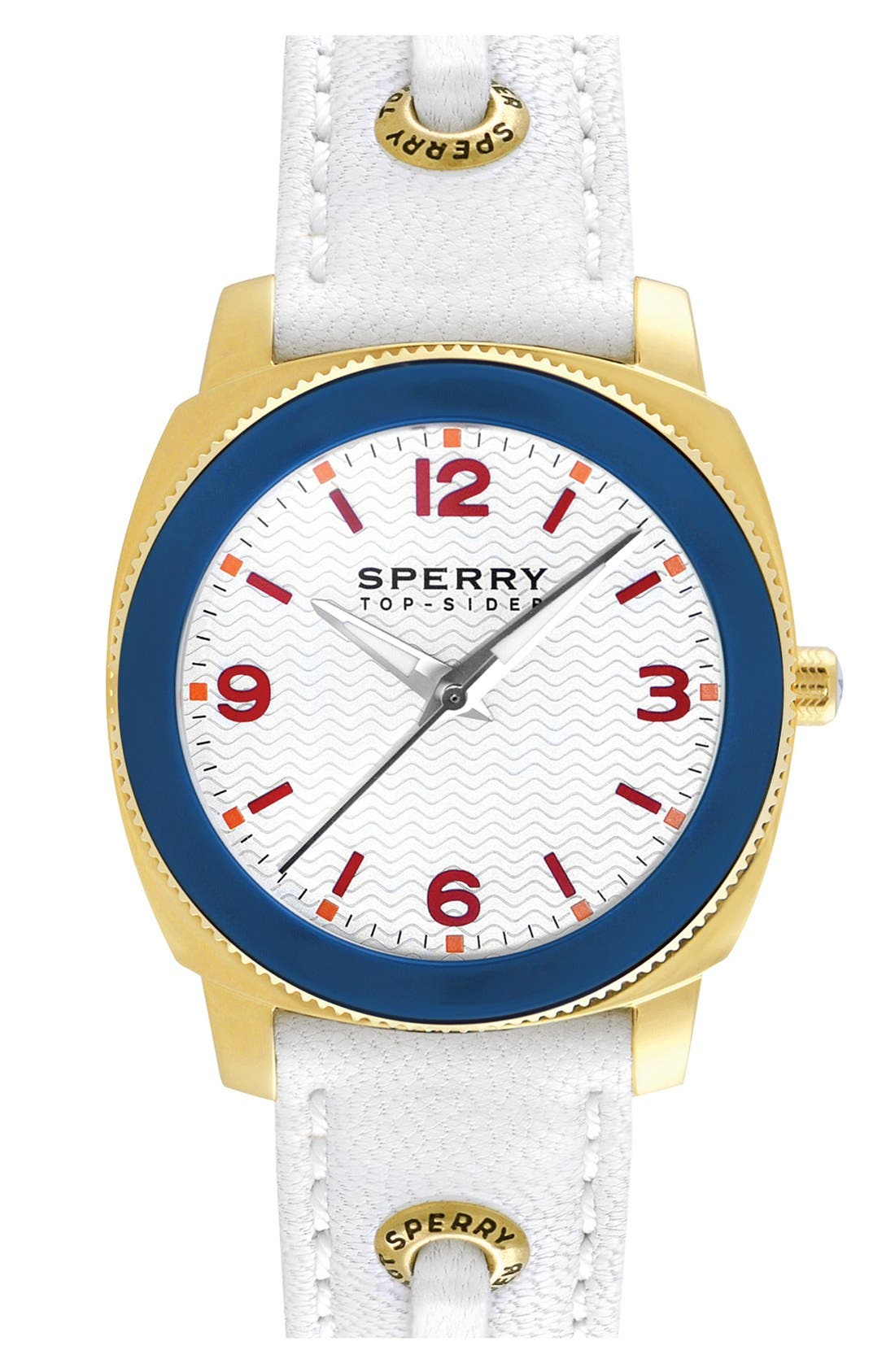 Main Image - Sperry Top-Sider® 'Summerlin' Square Leather Strap Watch, 38mm
