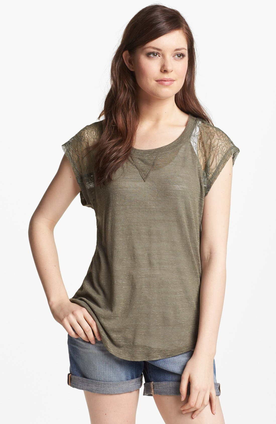 Main Image - Pleione Lace Shoulder Inset Tee