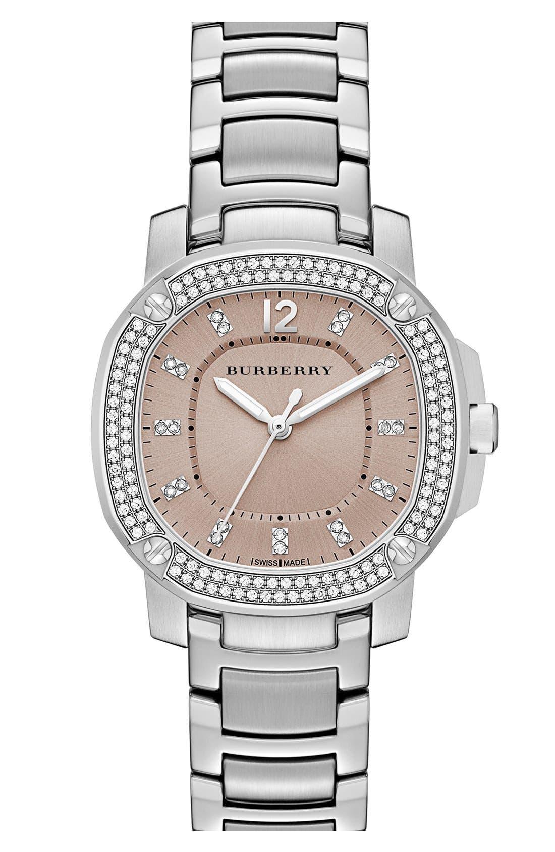 Main Image - Burberry The Britain Diamond Bezel Bracelet Watch, 34mm