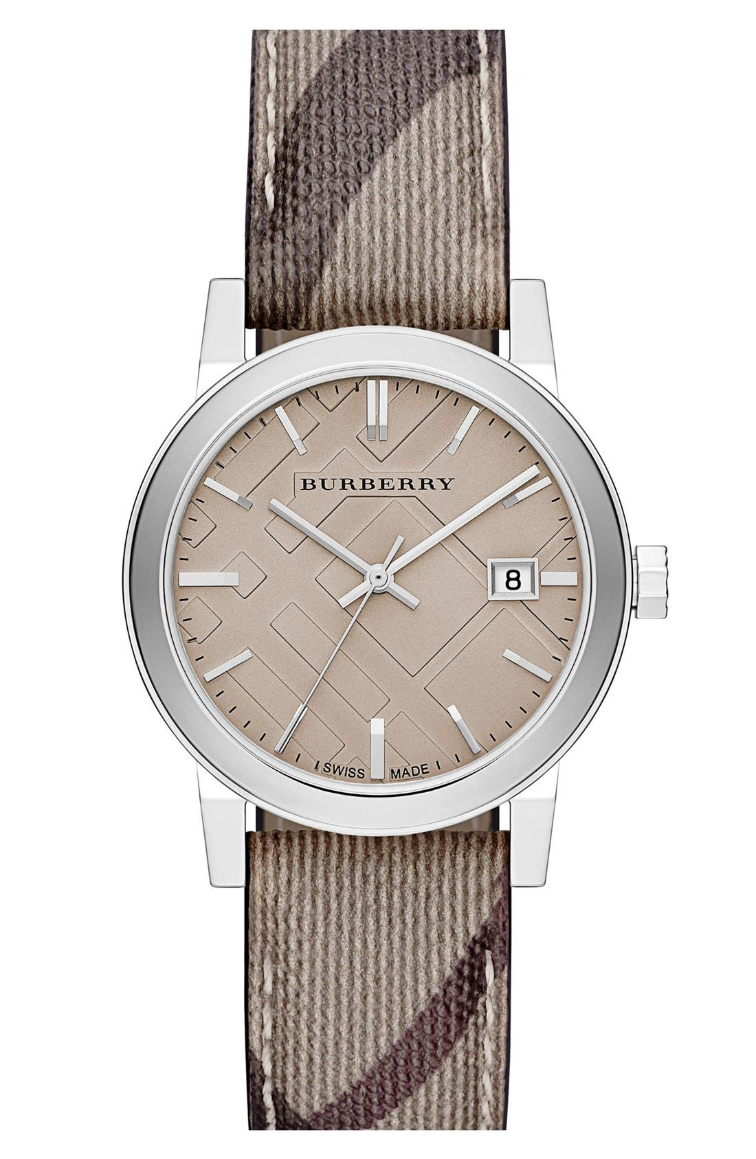 Alternate Image 1 Selected - Burberry Smoke Check Strap Watch, 34mm