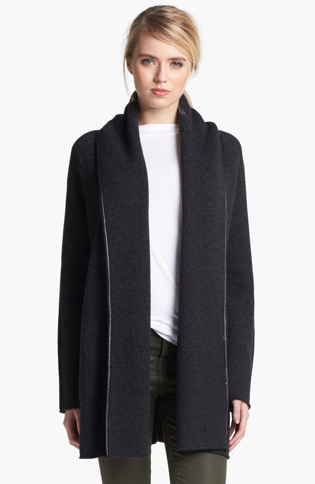 Leather Trim Blanket Sweater,                         Main,                         color, Heather Carbon