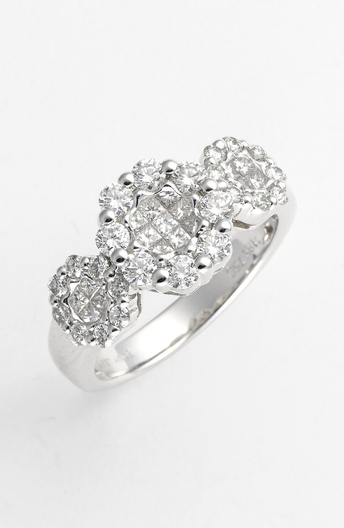 Main Image - Bony Levy 3-Station Diamond Flower Ring (Nordstrom Exclusive)