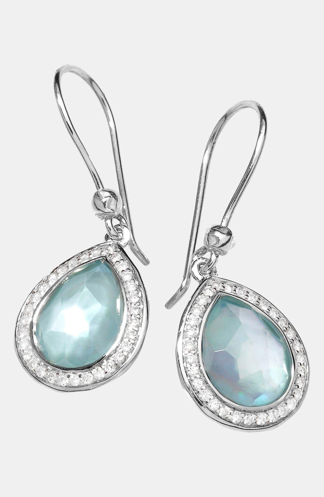 'Stella' Small Teardrop Earrings,                             Main thumbnail 1, color,                             Silver/ Blue Topaz
