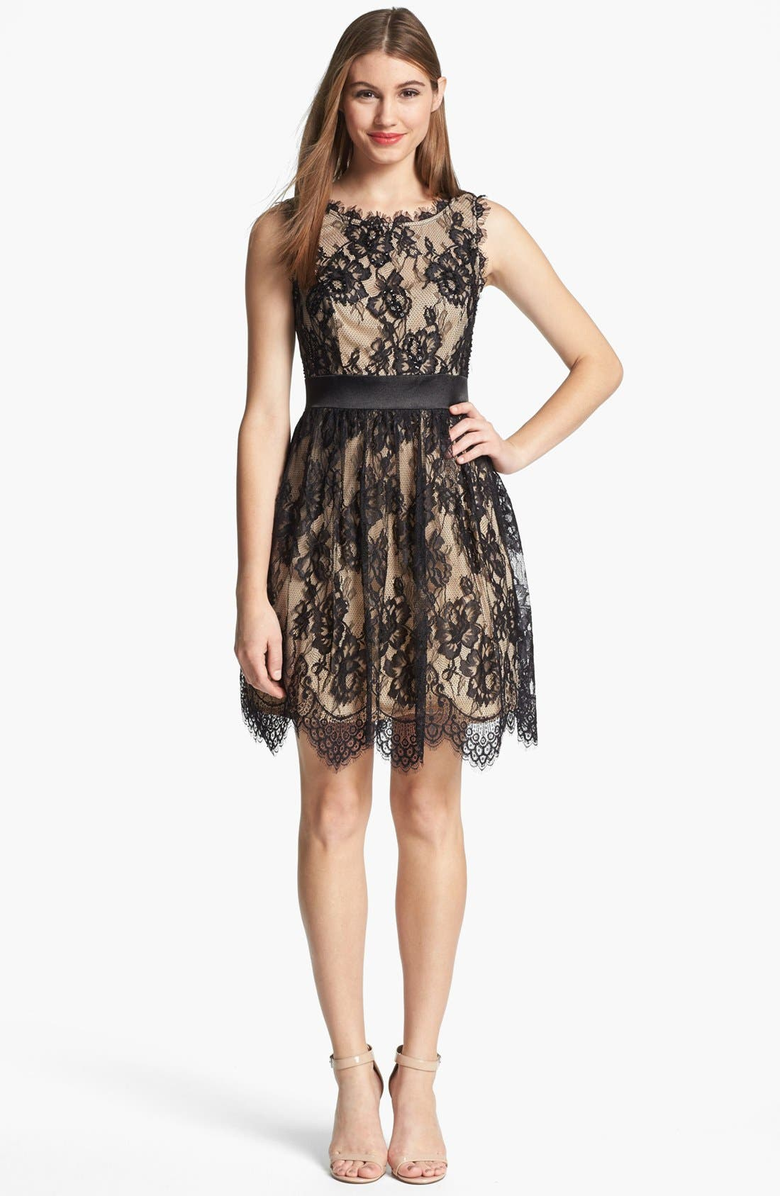 Main Image - Betsy & Adam Embellished Lace Dress
