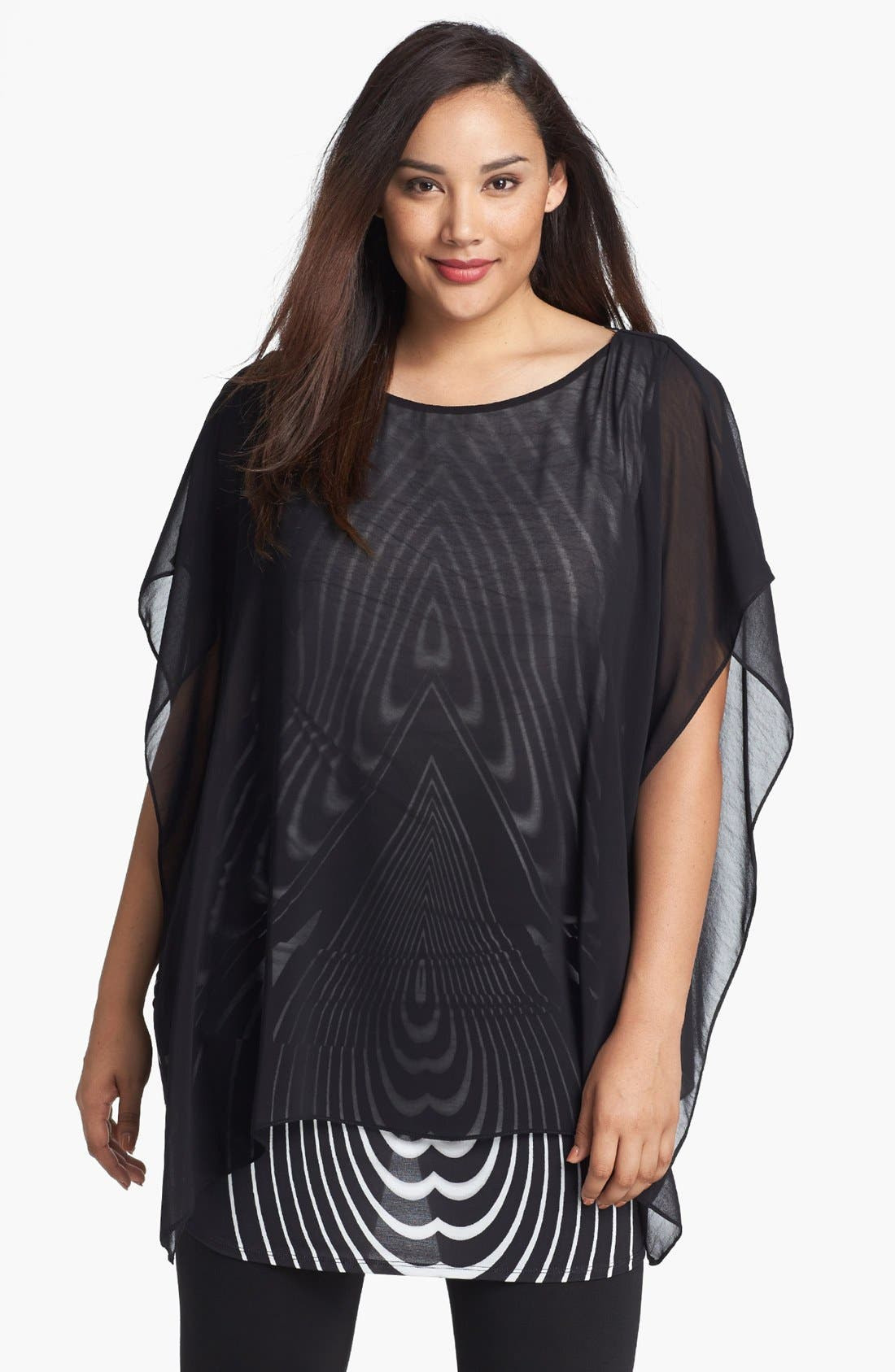 Alternate Image 1 Selected - Evans Print Double Layer Tunic (Plus Size)