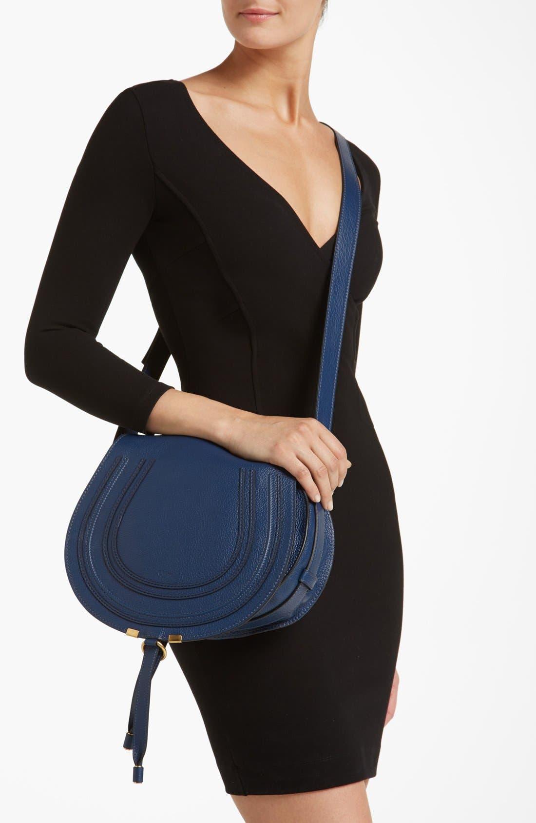 'Marcie - Medium' Leather Crossbody Bag,                             Alternate thumbnail 2, color,                             Royal Navy