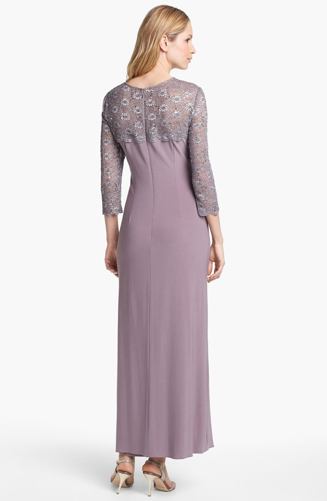Alternate Image 2  - Alex Evenings Lace Yoke Knotted Jersey Gown