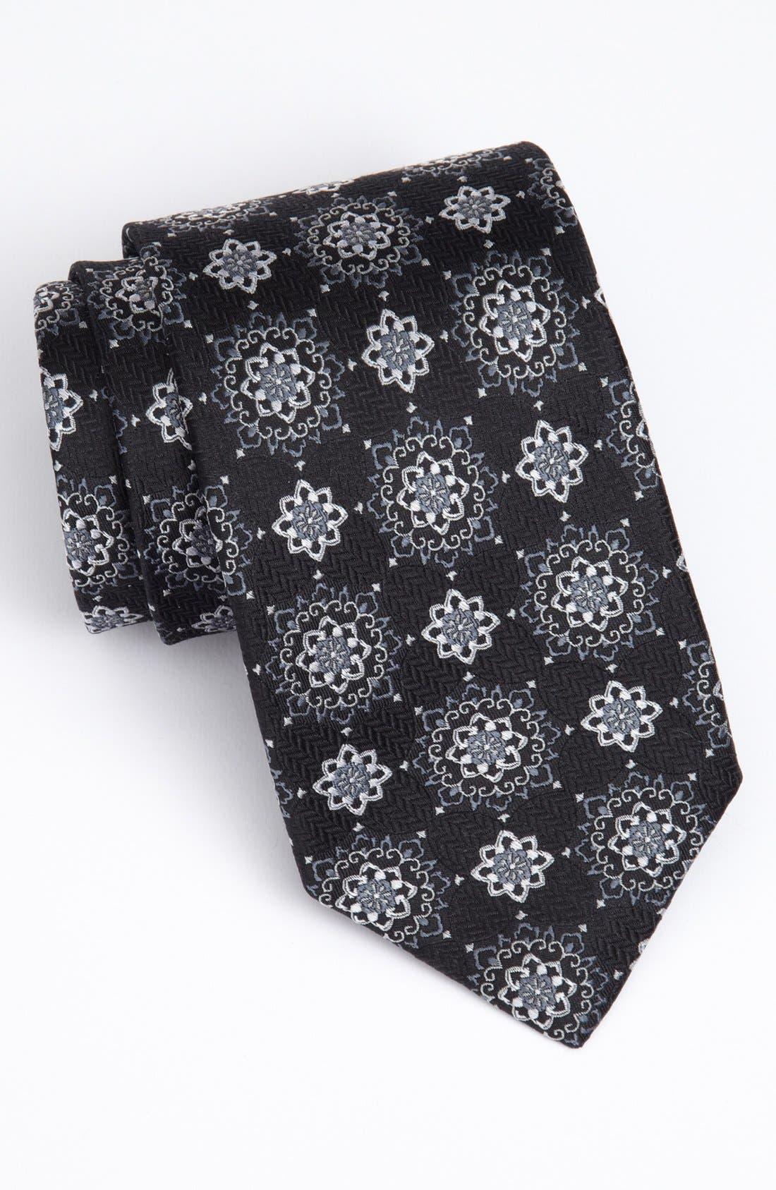 Woven Silk Tie,                         Main,                         color, Black