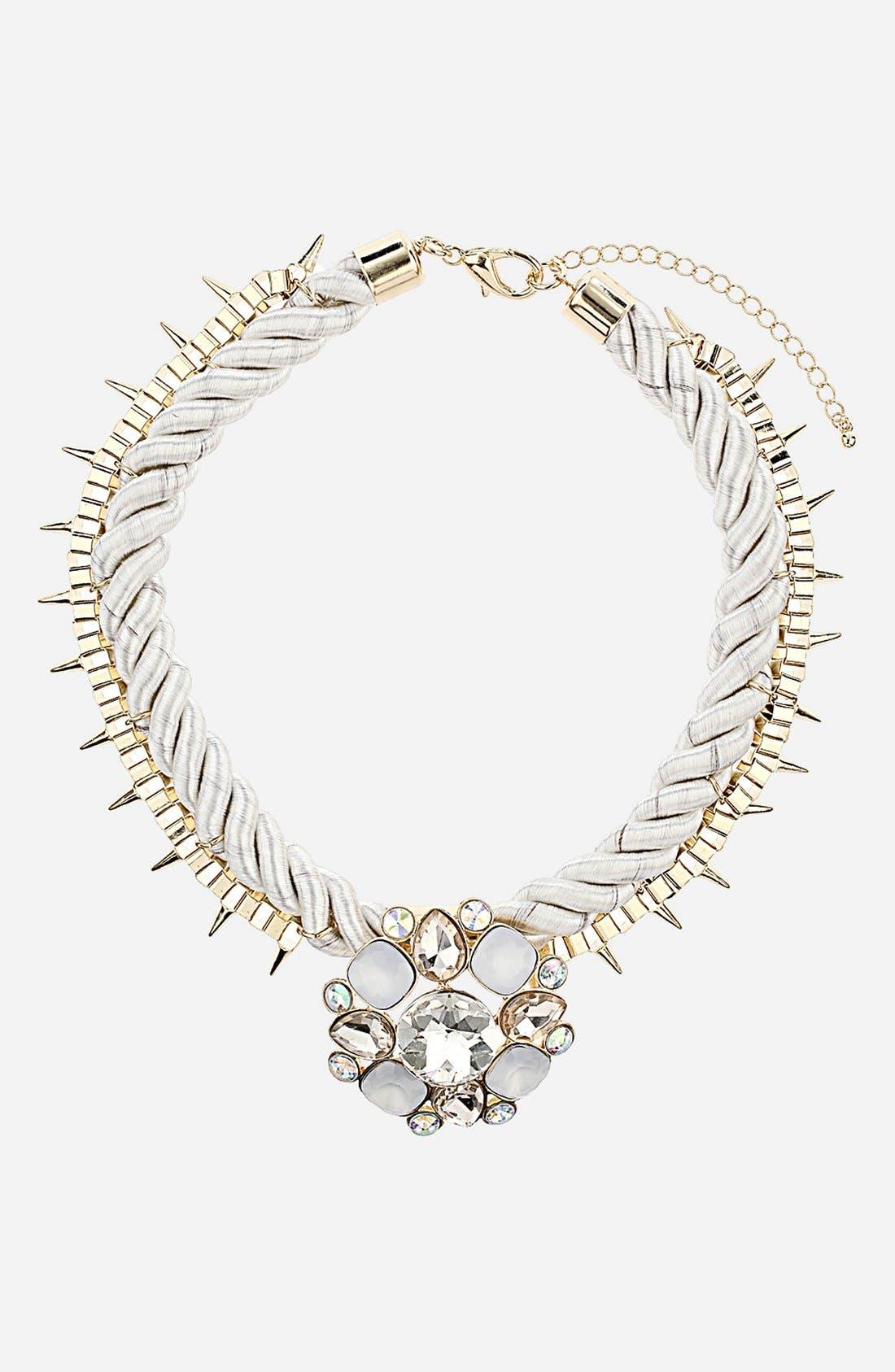 Main Image - Topshop Stone Pendant Necklace