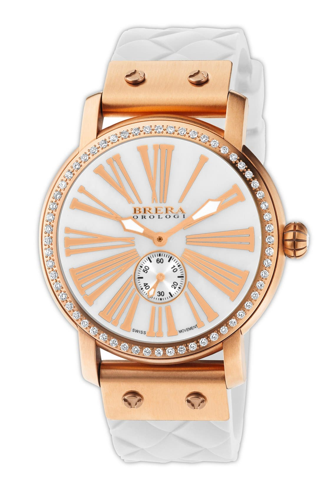 Alternate Image 1 Selected - Brera 'Valentina' Diamond Silicone Strap Watch, 42mm
