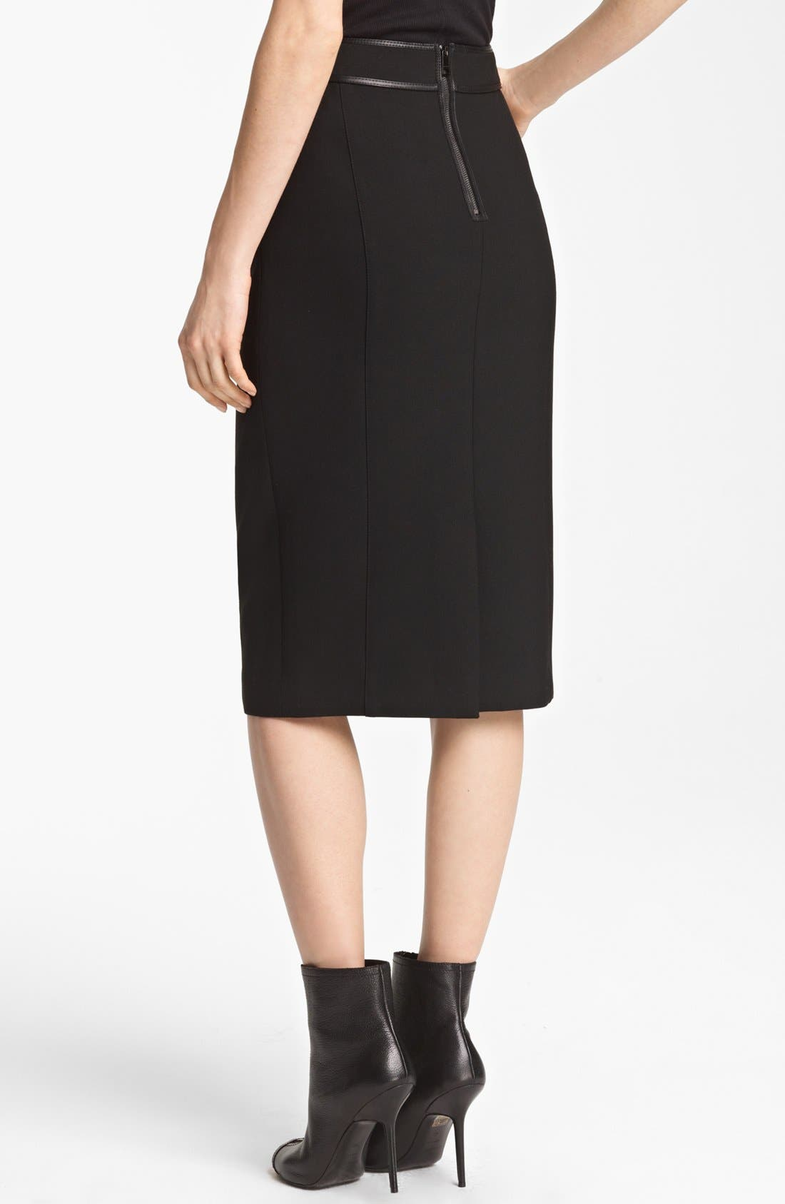 Alternate Image 2  - Burberry London Leather Detail Stretch Jersey Skirt